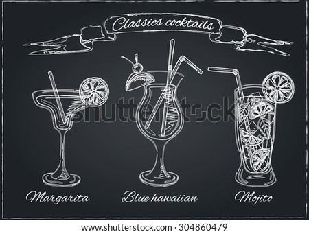 Cocktails collection on chalkboard.Vector Set of Sketch Cocktails and Alcohol Drinks. Margarita, Blue Lagoon, Mojito - stock vector