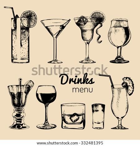 Cocktails drinks, cocktail glasses. Cocktail bar menu. Alcoholic drinks. Drinks menu. Vector set of alcoholic drinks and cocktails. Cocktails illustrations set. Hand drawn cocktails and drinks. - stock vector