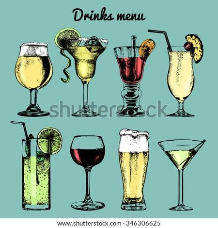 Cocktails drinks, cocktail glasses. Cocktail bar menu. Cocktail party. Alcoholic drinks. Vector set of alcoholic drinks and cocktails. Cocktails illustrations set. Hand drawn  cocktails and drinks. - stock vector