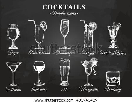Cocktails drinks,glasses.Drinks menu. Cocktails sketch. Hand sketched drinks. Vector set of alcoholic drinks and cocktails. Cocktails illustrations set. Hand drawn cocktails and drinks. Cocktail card. - stock vector