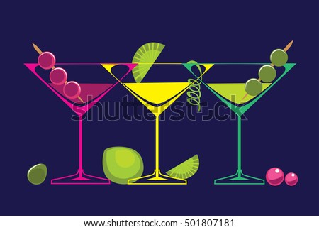 cocktails glasses of alcoholic beverages on dark background. Isolated vector set of drinks illustrations