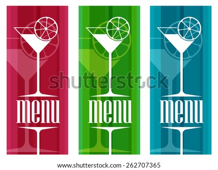 Cocktails Menu Card Design template - stock vector