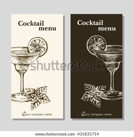 Cocktails Menu Card Design Template Menu Stock Vector