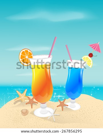 Cocktails on the background of the sea - stock vector