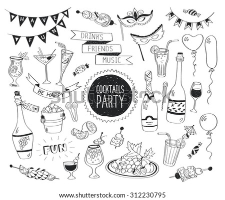 Cocktails party doodle set. Hand drawn beverages icons isolated on white background. Doodle food and drinks. Beverages, glass, bottles, fruits, snacks, masks. - stock vector