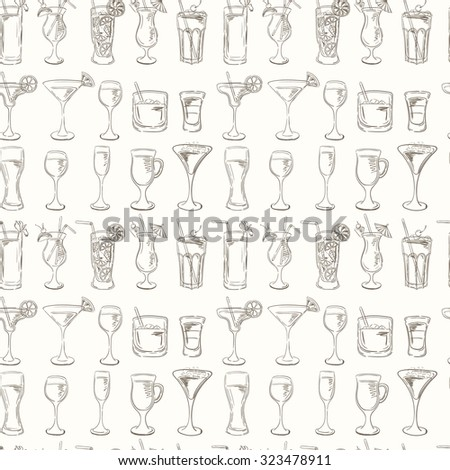 Cocktails Pattern. Vector Set of Sketch Cocktails and Alcohol Drinks. Margarita, Blue Lagoon, Mojito, Cosmopolitan, Pina Colada, Bloody Mary, Mulled wine,  - stock vector