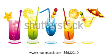 Cocktails row. Vector illustration. - stock vector
