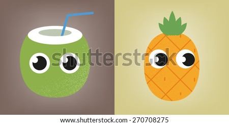 Coconut and pineapple with eyes - stock vector