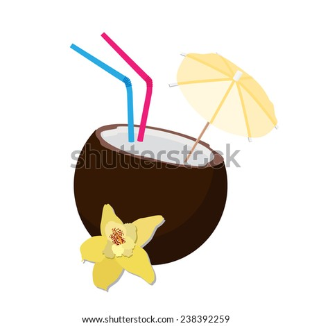 Coconut cocktail, coconut drink,coconut cocktail isolated, exotic - stock vector