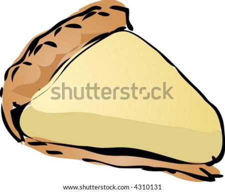 Coconut cream Pie, hand drawn retro illustration - stock vector
