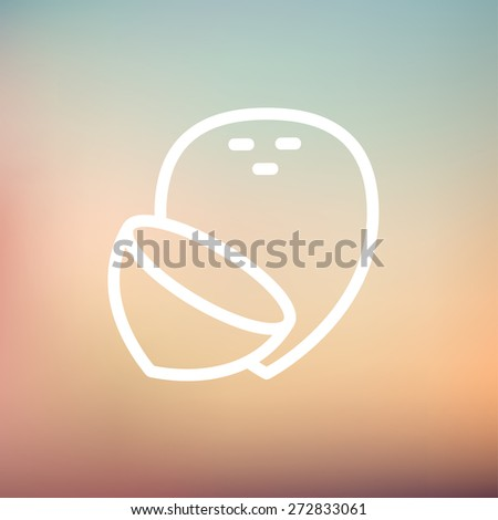 Coconut icon thin line for web and mobile, modern minimalistic flat design. Vector white icon on gradient mesh background. - stock vector