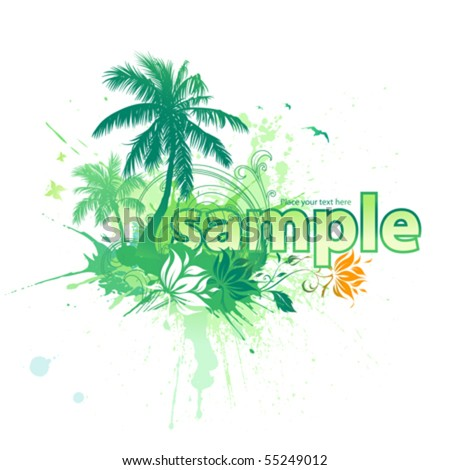 Coconut palm tree and flowers - stock vector