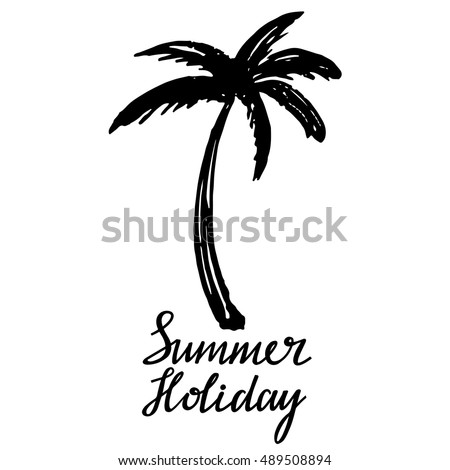 Coconut Palm Tree Logo Icon Hand Stock Vector 489508894 - Shutterstock