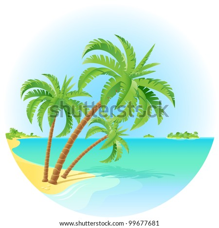 Coconut palm trees on a island. Illustration on white.