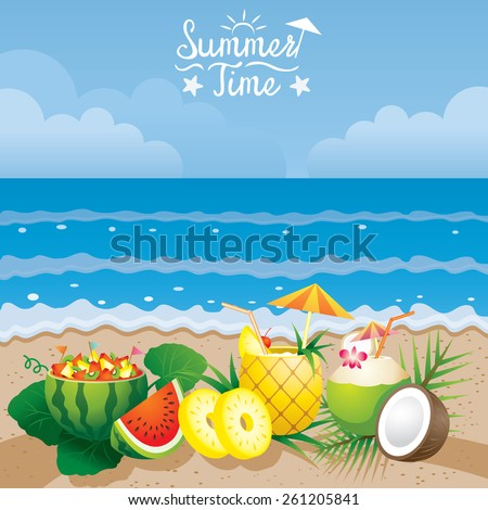 Coconut Pineapple Watermelon Fruit and Cocktail on the Beach Background - stock vector