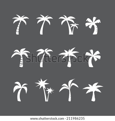 coconut tree icon set, each icon is a single object (compound path), vector eps10 - stock vector