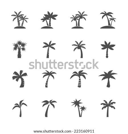coconut tree icon set, vector eps10. - stock vector
