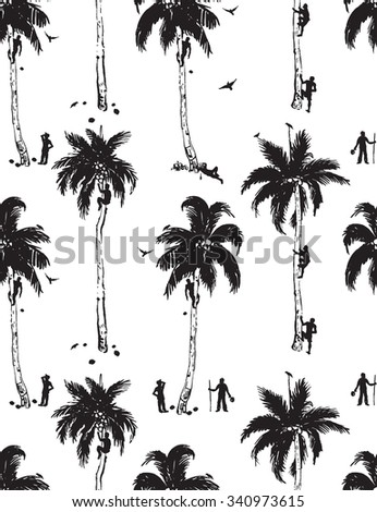 coconut tree monochrome pattern with coconut pickers