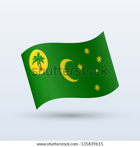 Cocos Islands and Keeling Islands flag waving form on gray background. Vector illustration. - stock vector