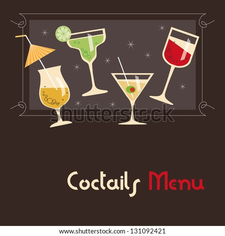 Coctails Menu Card Design - stock vector