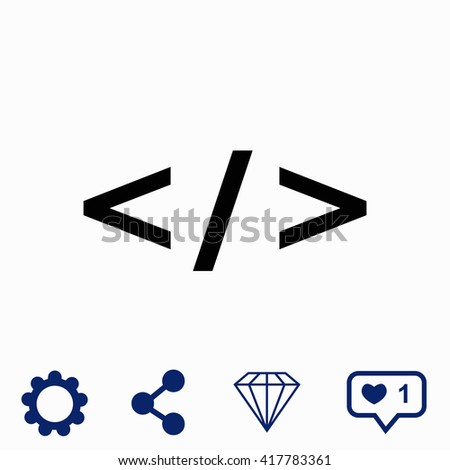 Code icon. Universal icon to use in web and mobile UI - stock vector