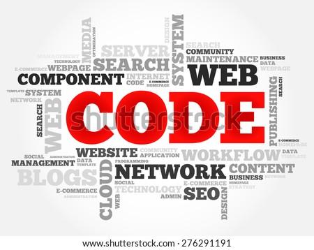 CODE word cloud, business concept - stock vector