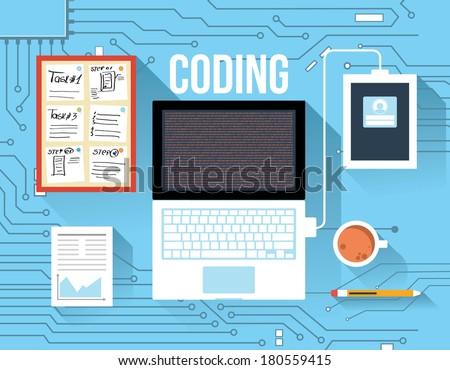 Coding concept - stock vector