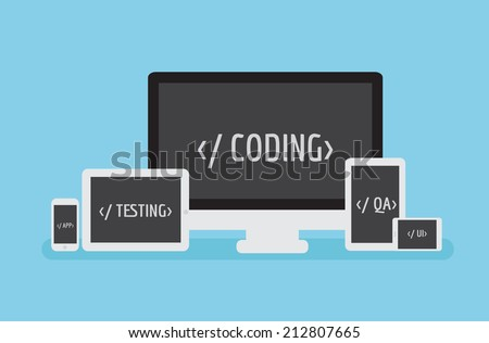 Coding Responsive. Software mobile application development - stock vector