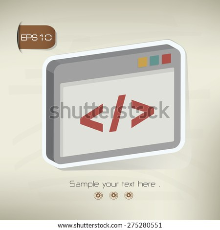 Coding sticker design on old background,vector - stock vector