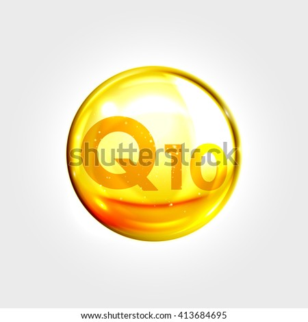 Coenzyme Q10. Gold vector oil icon. Enzyme drop pill capsule. Shining golden essence droplet. Beauty treatment nutrition skin care design. Vector illustration. - stock vector