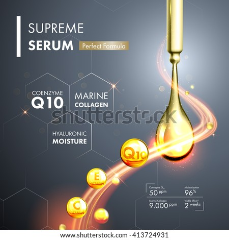 Coenzyme Q10 serum essence gold drops with dropper. Skin care collagen hyaluronic moisture formula treatment design. Anti age DNA helix protection solution. - stock vector