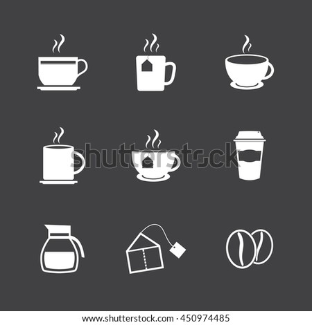 Coffe and tea icons - stock vector