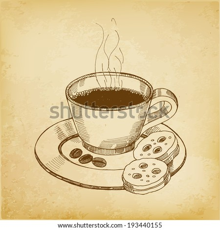 Coffe, vector hand drawing - stock vector