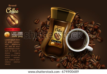 coffee advertising design with coffee splash elements, high detailed realistic illustration