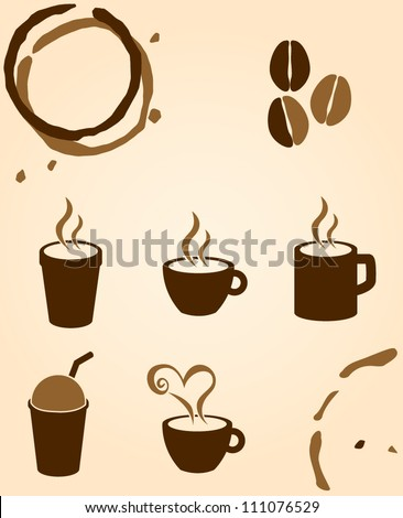 coffee and beverages symbols - stock vector