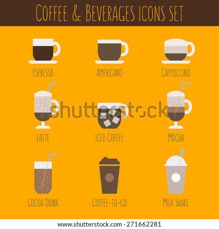 Coffee and Beverages vector icons set (Latte, espresso, cappuccino, americana, mocha, cocoa, milk shake) - stock vector