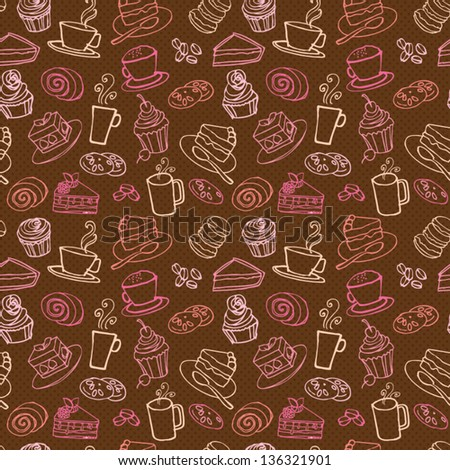 Coffee and cakes seamless background pattern - stock vector