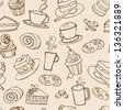 Coffee and cakes seamless vector pattern - stock vector