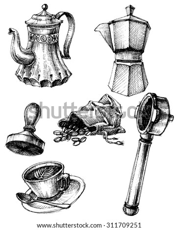 Coffee and coffee making set, retro style - stock vector