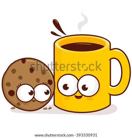 Coffee and cookie characters. - stock vector