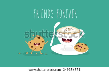 Coffee and cookies illustration. Vector cartoon. Friends forever. Comic characters. - stock vector