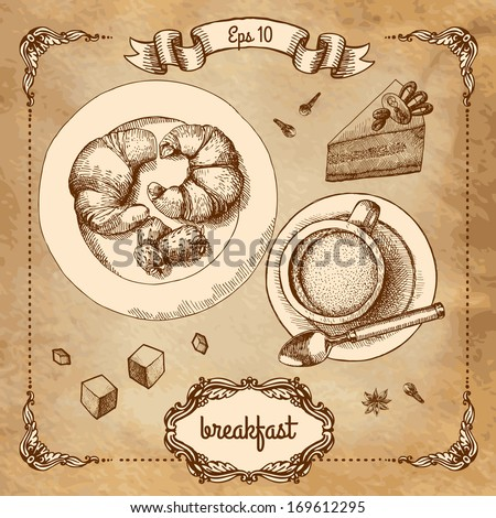 Coffee and croissant  - stock vector