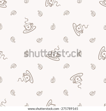 Coffee and croissant seamless pattern. Coffee shop and bakery menu backdrop. - stock vector