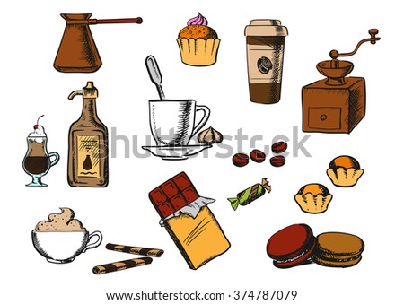 Coffee and dessert icons with cup of coffee on saucer, coffee beans and candies with ice cream, cakes, cappuccino, liquor, takeaway cup, chocolate, vintage coffee grinder and copper pot - stock vector