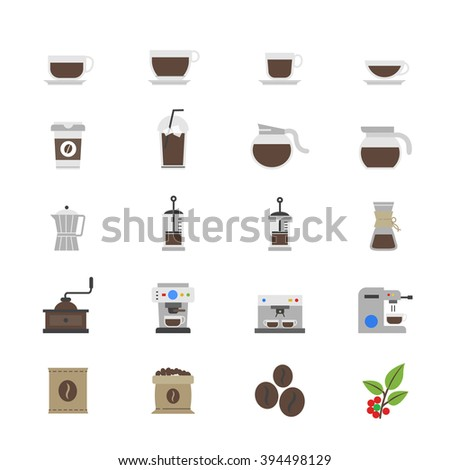 Coffee and Drink Flat Color Icons - stock vector