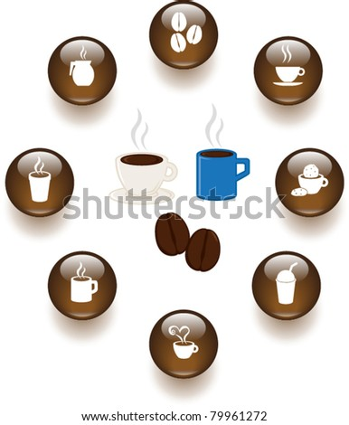 coffee and hot beverages illustrations and buttons set - stock vector