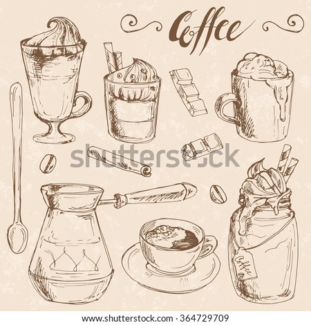 Coffee and ingredients set; hand drawn sketch collection with cup of espresso, cappuccino, latte, chocolate, coffee beans, cinnamon, pot, spoon and dessert