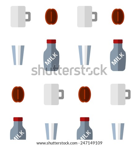Coffee and milk background with glass and cup - stock vector