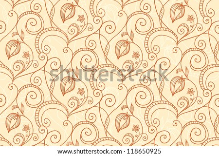 Coffee and milk colors flowers abstract seamless pattern