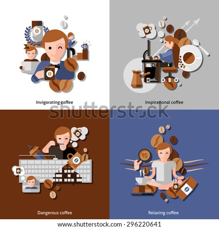 Coffee and relax in the morning icons set with inspiration and invigoration flat isolated vector illustration  - stock vector
